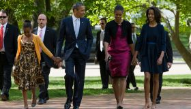 DC: PRESIDENT OBAMA AND FAMILY ATTEND EASTER SERVICE