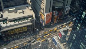 Aerial view of Times Square, New York, NY, USA
