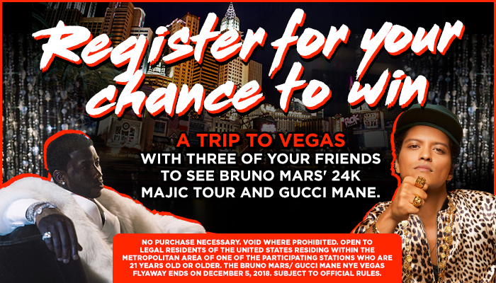 The Bruno Mars and Gucci Mane Vegas Flyaway Sweepstakes