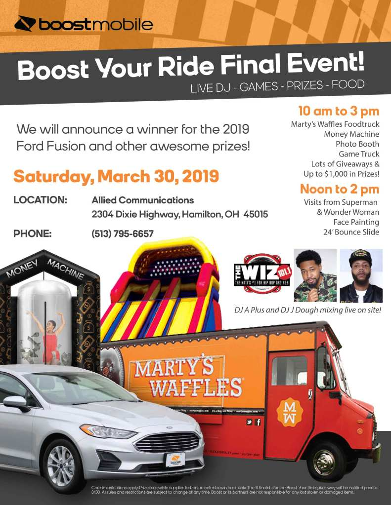 Boost Mobile Car Giveaway Flyer Cincinnati