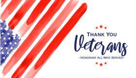 Veterans Day. Thank You Veterans. Watercolor USA flag. Vector