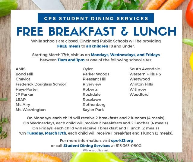Cincinnati Public Schools Lunch for Coronavirus Plan