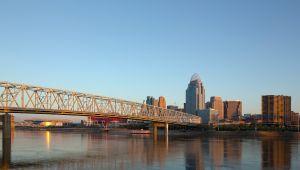 Cincinnati skyline at sunrise