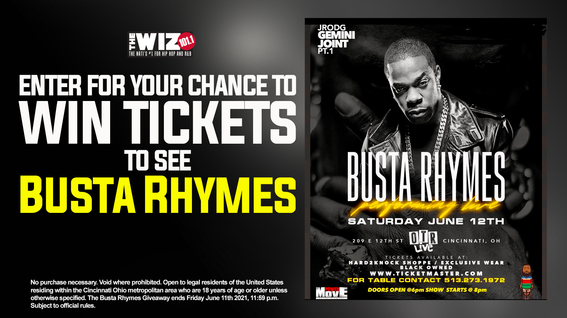 BUSTA RHYMES Register To Win Sweepstakes WIZ